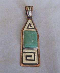 NAVAJO RUNNING BEAR SHOP STERLING SILVER COPPER GREEN TURQUOISE LARGE PENDANT