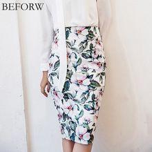 616ce312a BEFORW Vintage High Waist Skirts Women Summer Office Pencil Skirt Fashion  Casual White Rose Flower Print