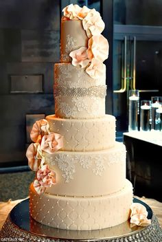 Five Tier Lace Wedding Cake, Apricot Icing Flowers