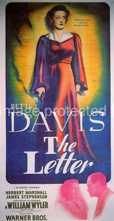 bette davis movie posters | The Letter Bette Davis Vintage Movie Poster