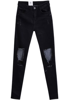 Shop Black Ripped Slim Denim Pant online. Sheinside offers Black Ripped Slim Denim Pant & more to fit your fashionable needs. Free Shipping Worldwide!