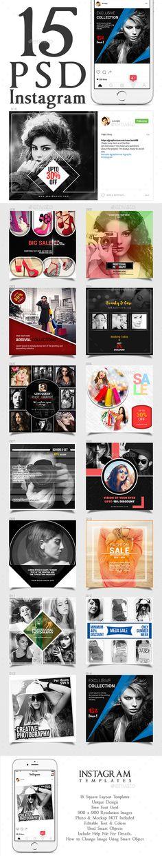 Instagram Banner Set - 15 Templates PSD #ads #promotion
