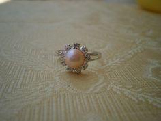 Pink Pearl Rings Adjustable