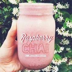 Raspberry chai smoothie: Blend 4 frozen bananas, 1 handful raspberries, a bit of almond milk, 1/2 tsp chai powder
