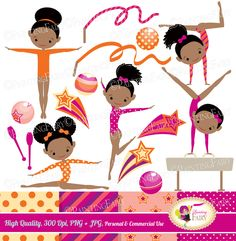 Little Girl Gymnasts Clip Art Set Afro Girl Cliparts Cute dress rhythmic gymnastic acrobatic Sport ribbon elements Digital Papers pf00064-1e by PaintingFairyClipart on Etsy
