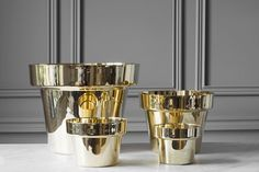 Simon James Concept Store Welcomes Skultuna gold plant pots
