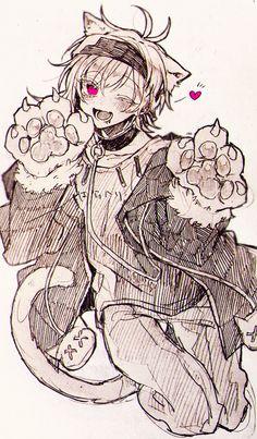 イラストアナログ Anime Drawings Sketches, Anime Sketch, Cute Anime Guys, Awesome Anime, The Wolf Game, Dibujos Anime Chibi, Dibujos Cute, Cute Art Styles, Wow Art