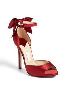"""Kate Spade - red satin stiletto pump 4.5"""" heel with 0.5"""" platform."""
