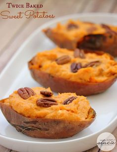 Twice Baked Sweet Potatoes - a heavenly side dish that is sweet, creamy and decadent! Don't save these for Thanksgiving--sweet potatoes are a great choice for any meal! Get the healthy recipe here!