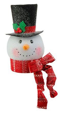 RAZ Imports Tinsle Tangle - Snowman Head Ornaments/Decoration/Tree Topper (Red Scarf)