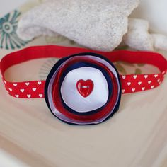 Red White and Blue Flower Headband with Cute by MyLittlePixies, $8.50