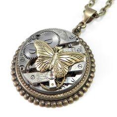 Steampunk Necklace - Victorian Butterfly on Brass Art Deco Watch