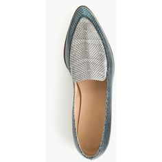 J.Crew Collection Snakeskin Loafers (330.840 CLP) ❤ liked on Polyvore  featuring shoes