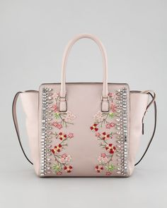 Rockstud Crystal-Embellished Tote Bag by Valentino at Bergdorf Goodman.my dream spring bag! Valentino Handbags, Valentino Rockstud, Burberry Handbags, Valentino Purse, Leather Handbags, Gucci Purses, Purses And Handbags, Pink Purses, Ladies Handbags