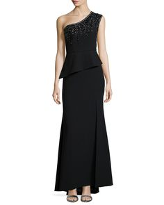One-Shoulder Beaded Peplum Gown, Size: 0, Black - Sue Wong
