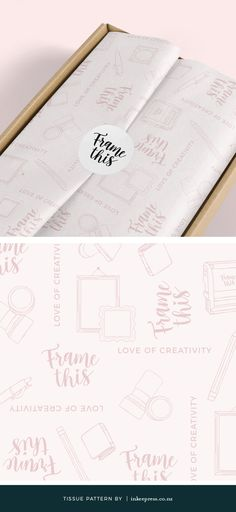 Hand drawn illustrative tissue paper pattern design for Frame This Stationery brand.