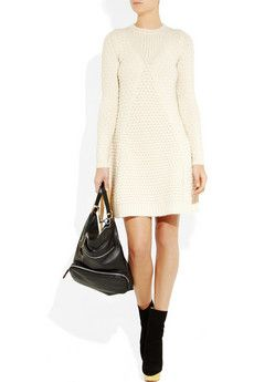 Cream mid-weight honeycomb-knit wool A-line skirt, ribbed trims Slips on  wool Dry clean