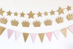 Pink and Gold Party Decor/ Gold Star Garland/ Gold Crown Garland/ Pink and Gold Pennant Banner/ Princess Party Princess Party Supplies, Princess Party Decorations, Princess Theme Party, First Birthday Decorations, Gold Party Decorations, Princess Birthday, Birthday Ideas, Star Banner, Star Garland