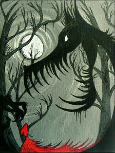 Very Big Bad Wolf, Full Moon, Little Red Riding Hood. She looks like she can handle herself. Bad Wolf Tattoo, Red Ridding Hood, Wolf Silhouette, Art Manga, Big Bad Wolf, Red Hood, Art Plastique, Little Red, Fantasy Art