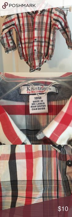 Kitestrings Plaid Onesie Button Up Shirt Never worn. Toddler plaid Onesie with red, white, khaki and navy colored pattern. Pairs great with Kitestrings Cable Knit sweater in my closet. 10% discount if both are purchased together. Hartstrings Shirts & Tops Button Down Shirts