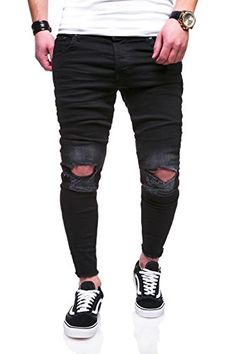 26151cab91 Behype Men's Jeans Pants With Destroyed Effect and Ripped Knees JN-3551  (Black,