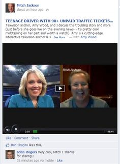 TEENAGER WITH 90+ UNPAID TRAFFIC TICKETS: Amy Wood and I discuss this troubling story and more live on Spreecast (just before she goes live as Anchor for the evening news- - it's pretty cool multitasking on her part and worth a watch). Amy is a cutting-edge interactive television anchor & social media/ social TV broadcaster.     http://youtu.be/Kcy9w-Kjxrs