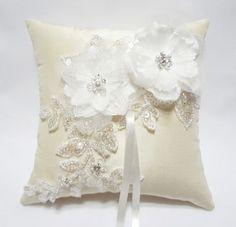 Wedding Ring Pillow Cream Satin Organza Blossom on Ivory