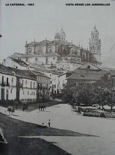 Jaén. plaza Mercado, los Jardinillos y la Catedral
