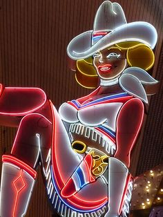 Vegas Vicki vintage Las Vegas neon sign on Fremont Street under the canopy.  #neoncowgirl