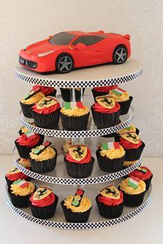 ferrari cake and cupcakes.jpg The post ferrari cake and cupcakes.jpg appeared first on ferrari. 3rd Birthday Cakes, Race Car Birthday, Race Car Party, Cars Birthday Parties, 40th Birthday, Birthday Ideas, Ferrari Cake, Ferrari Party, Festa Hot Wheels