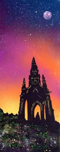 An original painting and prints of The Scott Monument, Edinburgh.  Original mixed media painting in acrylic paint, spray paint, oil paint and acrylic ink on box canvas.  Original canvas painting - 76 x 30 x 4cm  (REF: ED6) A range of framed, unframed and mounted prints are available - See more at: http://www.scottishlandscapepainting.co.uk
