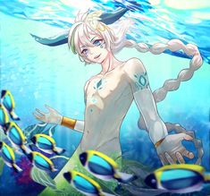 Elian by Yibiart Hot Anime Boy, Cute Anime Guys, Mythological Creatures, Mythical Creatures, Happy Tree Friends, Fantasy Character Design, Character Art, Anime Merman, Fantasy Characters