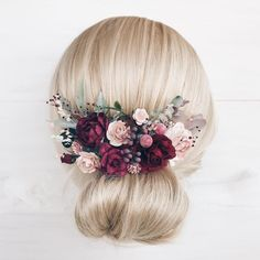 Burgundy flower Hair comb, Deep red headpiece, Bridal hair comb, Wedding hair comb, Bridal flower he Red Bridal Hair, Flower Headpiece, Wedding Hair Flowers, Wedding Hair Pieces, Bridal Flowers, Flowers In Hair, Headpiece Wedding, Bridal Headpieces, Flower Hair Pieces