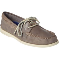 Sperry Women's A/O Quinn Leather Boat Shoe ($60) ❤ liked on Polyvore featuring shoes, loafers, grey, genuine leather shoes, sperry, leather deck shoes, grey boat shoes and sperry top-sider shoes