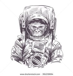 Monkey in astronaut suit. Hand drawn vector illustration - stock vector