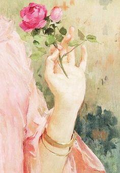 peinture française  marie félix hippolyte lucas une beauté en rose (rochefort sur mer I854 bougival I925) detail painting pink rose
