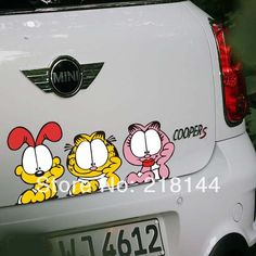 Peeking Serious Cartoon Garfield Onlooks Car Styling Car Stickers Funny for Lada Cars Tail Acessories,Car Decoration Ford $9.87