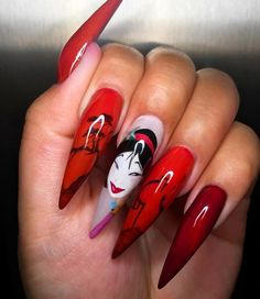 36 Amazing Acrylic Nail Ideas 2019 - Nails Tip Nail Art Disney, Disney Acrylic Nails, Acrylic Nails Stiletto, Almond Acrylic Nails, Cute Acrylic Nails, Cute Nails, Nail Art Designs, Acrylic Nail Designs, Perfect Nails