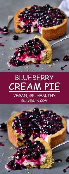 This blueberry cream pie is vegan, gluten-free, refined sugar free and easy to make. It's the perfect dessert if you love to eat a healthy cheesecake without dairy or eggs. Easy recipe with simple ingredients