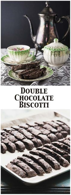 Double Chocolate Biscotti - this chocolate biscotti is dotted with chocolate chips for a chocolate lovers dream come true!