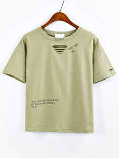 Olive Green Letter Print Ripped T-shirt Mobile Site