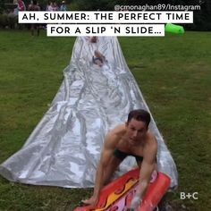 Summer is the perfect time for slip 'n slides. Watch this video for major LOLs. Funny Quotes, Funny Memes, Hilarious, Jokes, Slip N Slide, Bizarre, Satisfying Video, Psychology Facts, Abnormal Psychology