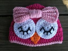 Baby Toddler Girl HOT PINK Crochet Sleepy OWL Beanie Hat w/Pink Bow -- Sizes: Newborn to 10yrs -- Cute Photo Prop. $16.00, via Etsy.