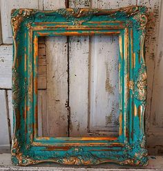 Check out Distressed picture frame turquoise gold wall hanging ornate wooden shabby cottage chic vintage aqua frame display decor anita spero design on anitasperodesign