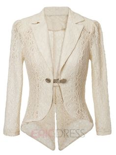 Ericdress Solid Color Lace Blazer 1