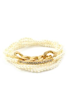 Crystal Maddox Bracelet in Soft Pearl on Emma Stine Limited // Love pearls...always make me feel so girly!
