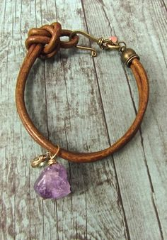 Raw Amethyst Boho Leather Cord Bracelet Wear amethyst to enhance intuition and spirituality