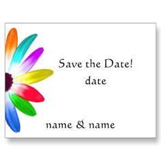 Rainbow colored daisy wedding save the date postcard