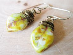 Tree Nymph Earrings Picasso Czech Glass by thelittlehappygoose, $20.00