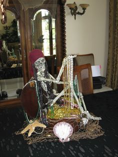 Pirate Party Decor - Centerpiece- Dollar store at halloween for decor Pirate Halloween Decorations, Pirate Halloween Party, Pirate Decor, Pirate Birthday, Pirate Theme, Halloween Skeletons, Outdoor Halloween, Voodoo Halloween, Halloween Parties